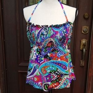 Multi Colored Tankini Bathing Suit  Size L